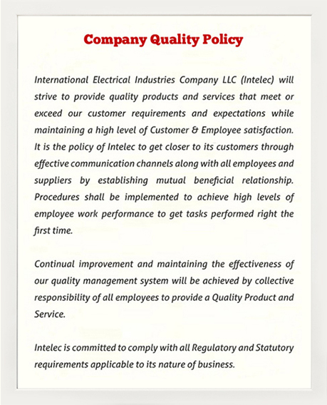 INTELEC - Intelligence on Safe Power Company Quality Policy